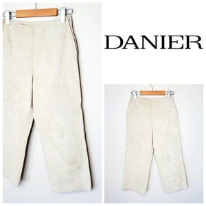 DANIER Genuine Leather High Rise Cropped Pants
